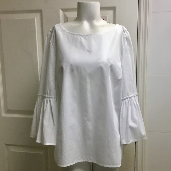 Vineyard Vines Tops - Vineyard vines white ruffle sleeves blouse size M